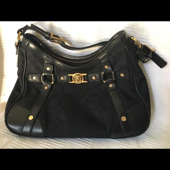 Versace Bags   Black Logo Canvas Shoulder Bag   Poshmark 2200600e95